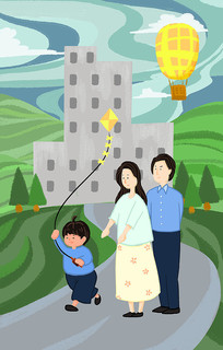 手绘社会核心价值观文明城市和谐社会插画