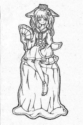 原创速写手拿扇子坐在树墩上可爱女孩元素
