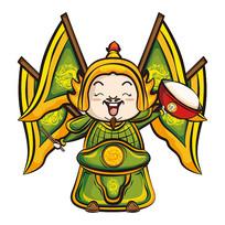 原创元素-绿色将军卡通形象