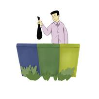手绘垃圾分类垃圾桶丢垃圾人物插画元素