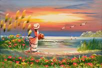 手绘美女观日出油画图