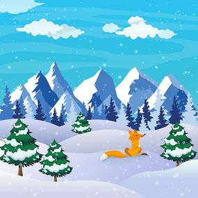 原创元素冬季雪景小狐狸