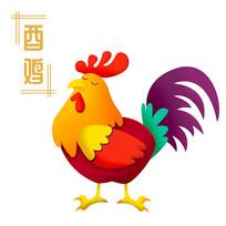 原创元素清新生肖鸡