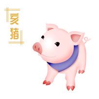 原创元素清新生肖猪