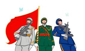 原创元素升旗的军人