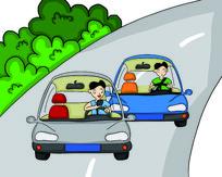 原创元素手绘开车看手机漫画