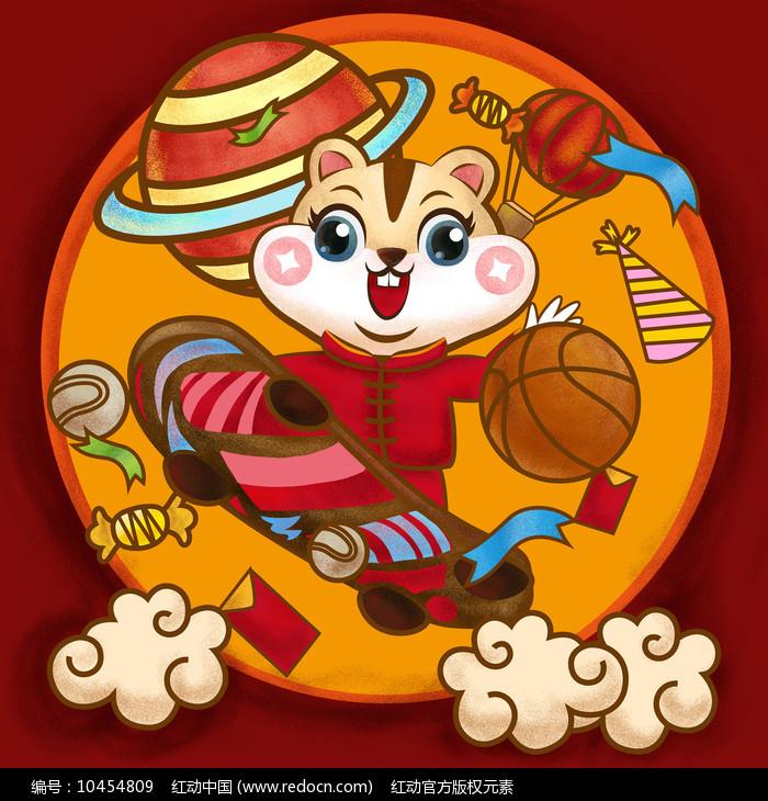 原创元素鼠年快乐滑滑板鼠图片