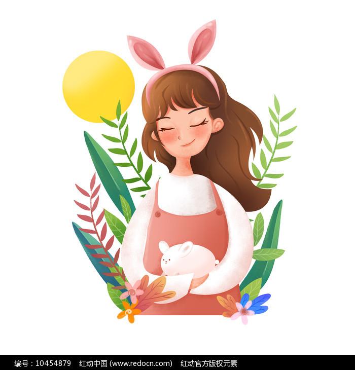原创元素兔子姑娘图片