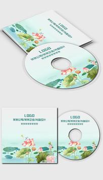 中国风水墨荷花光盘封面设计
