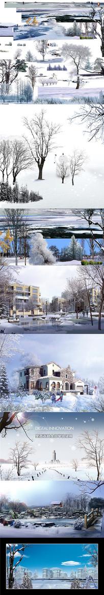 独立细分层园林景观雪景风光SD素材 PSD