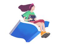 读书女孩原创插画