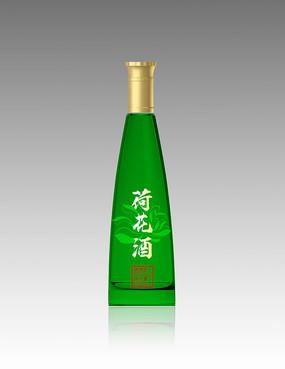 荷花酒绿色酒瓶效果图