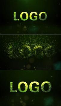 炫酷梦幻环保黄绿粒子logo演绎视频模板