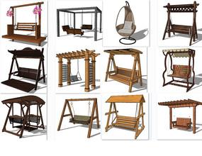 秋千椅模型 skp