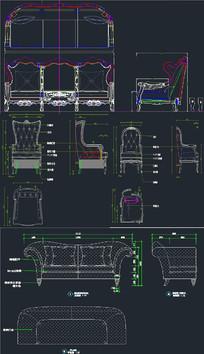 沙发图库-欧式沙发CAD