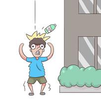手绘文明城市禁止高空抛物公益漫画插画元素