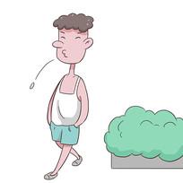 手绘文明城市禁止随意吐痰公益漫画插画元素