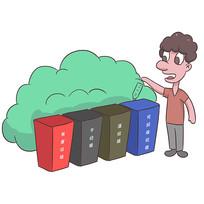 手绘文明城市垃圾分类公益漫画插画元素