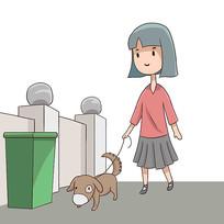 手绘文明城市文明养犬公益漫画插画元素