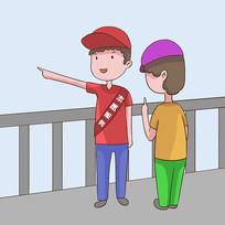 手绘文明城市志愿者服务公益漫画插画元素