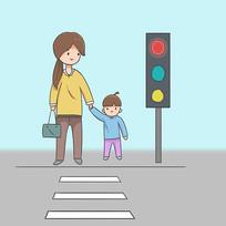 手绘文明城市遵守交通公益漫画插画元素