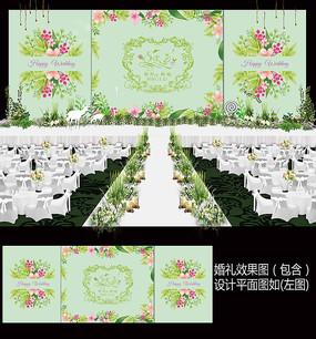 小清新田园风花卉婚礼背景板