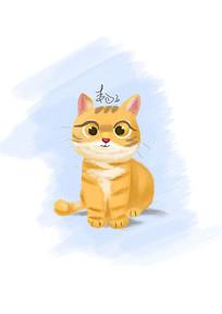一只可爱的手绘卡通桔猫插画