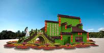 中国风立体花坛绿色雕塑五色草造型