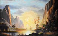 高清公园梅花鹿油画背景墙