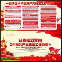 红色中国共产党政法工作条例展板