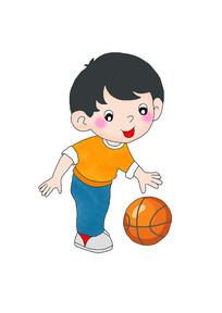 卡通男孩拍篮球