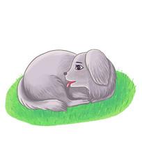 可爱狗狗趴窝草地插画