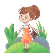 可爱女孩暖阳下踏青旅游插画