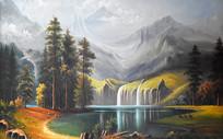 手绘高清公园风景油画背景墙