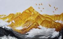 手绘高清金色山河油画背景墙