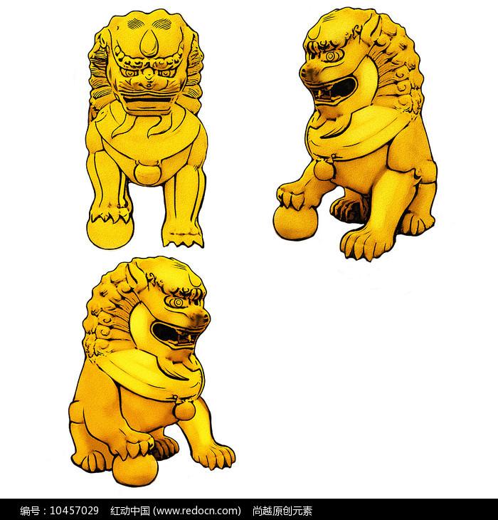 手绘金黄色石狮子文化艺术原创插画元素图片