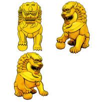 手绘金黄色石狮子文化艺术原创插画元素