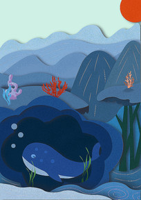 海洋鲸鱼幻想插画