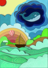 海洋鱼的幻想插画