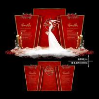 红色婚礼效果图设计欧式大理石婚庆背景 PSD