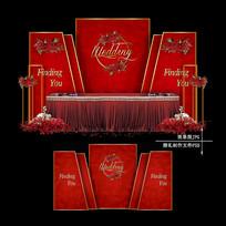 红色主题婚礼效果图设计大理石婚庆背景 PSD