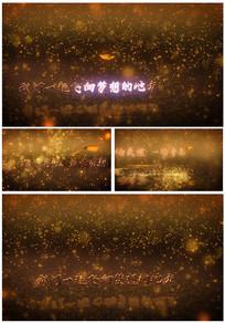 金色粒子蝴蝶带出文字视频模板