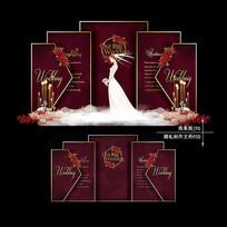 酒红色主题婚礼 PSD
