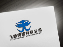 科技飞字型logo