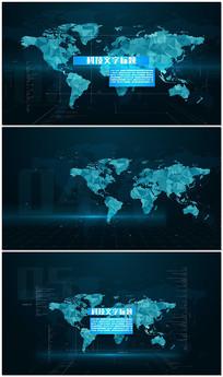 蓝色科技地图标题文字片头视频模板