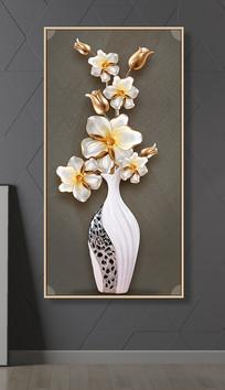 轻奢3D玉兰花浮雕花瓶插花玄关过道装饰画