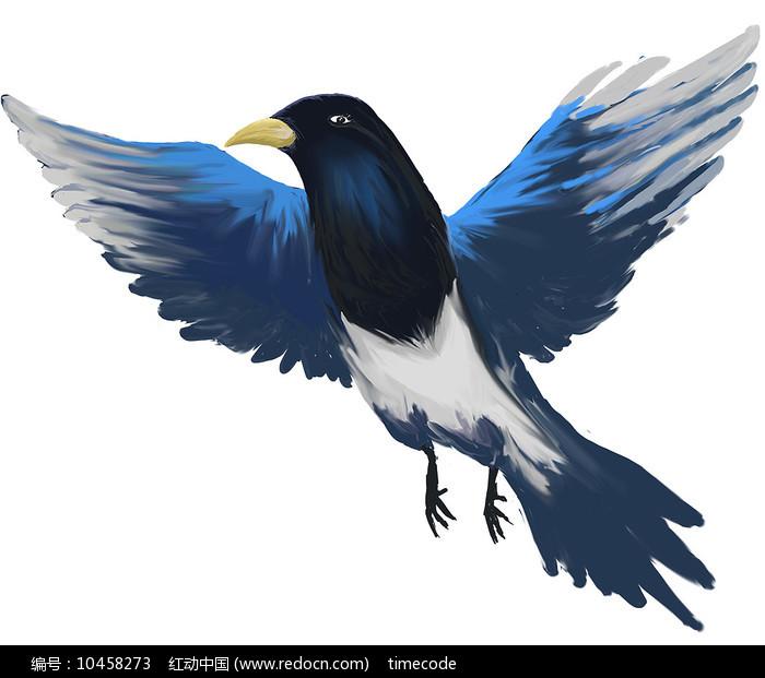 原创手绘喜鹊七夕设计元素图片