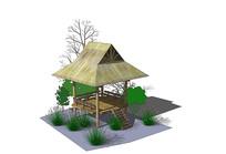 公园草亭su模型