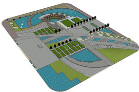 公园景观广场SU模型