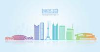 江苏省泰州市地标建筑剪影矢量图